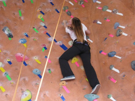 Indoor rock climbing strengthens body