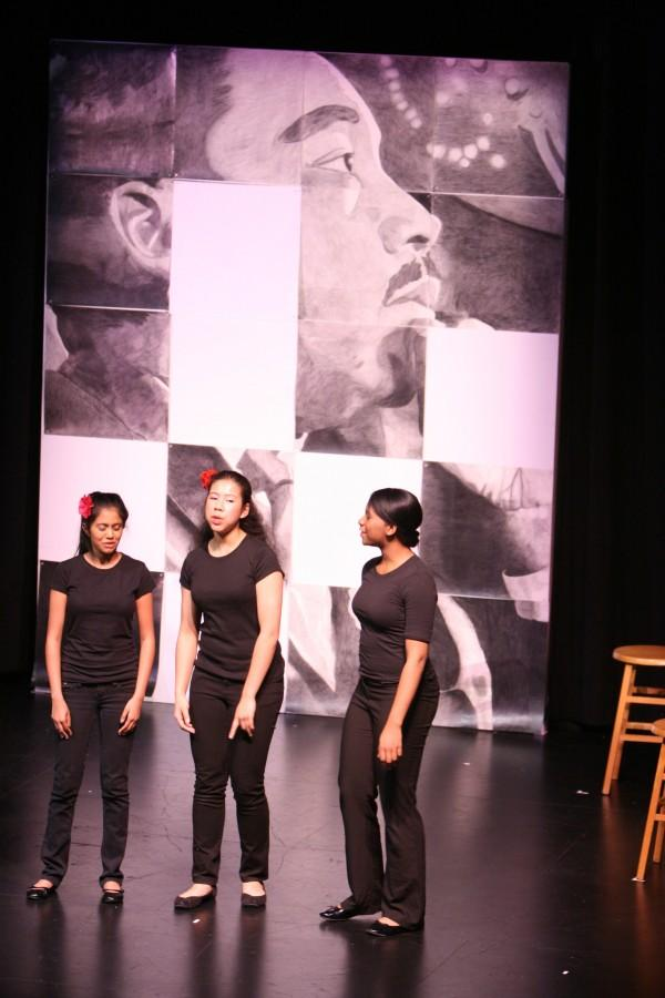 Freshman+Ayesha+Sayeed+and+seniors+Briana+Davis+and+Ronella+Rosenberg+perform+in+%E2%80%9CDedication+to+a+Dream%2C%E2%80%9D+a+tribute+to+civil+rights.+English+department+chair+Karen+Randall+organized+the+production.