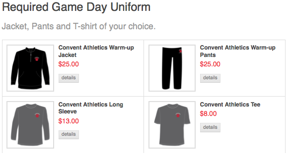 CSH online store has a set game day uniform, consisting of sweat pants, warm up jacket and a long sleave or short sleave shirt. Red hoody sweatshirts are available to be ordered for $40.