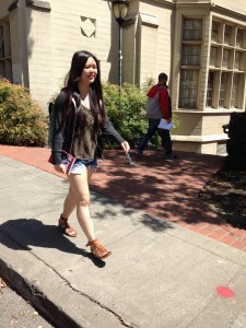 Kellie La ('14) makes her way to class on campus at the University of California at Berkeley. La said she decided to attend Cal, even though it is near home, for the academics liberal and atmosphere.