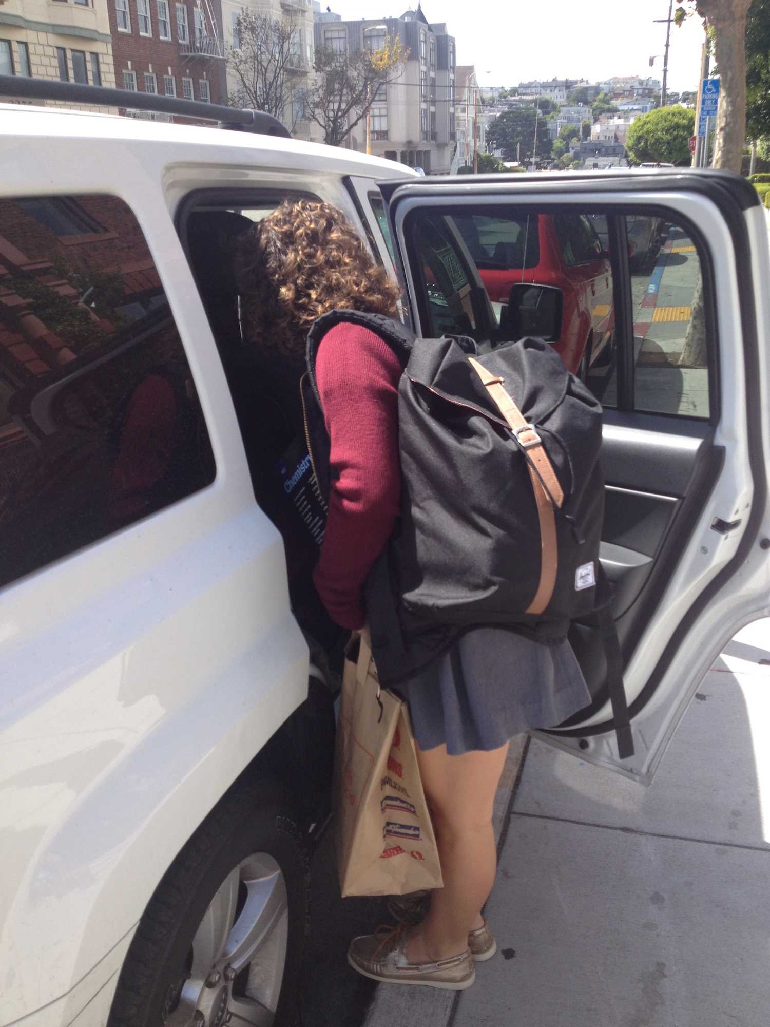Sophomore Madison O'Neill brings donated goods to drive to Calistoga and St. Helena to help those evacuated from fire.