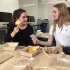 Seniors Alexandra Farran and Megan McMiking in iPad Programming celebrate their completion of a breakfast ordering app by having brunch during their F Period class.