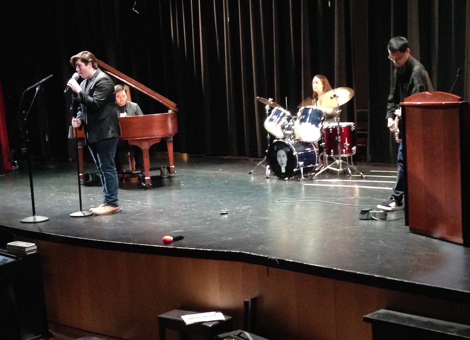 Jazz band performs an original piece at the Poetry Festival. The yearly competition showcases writers and poets from both CHS and SHHS.