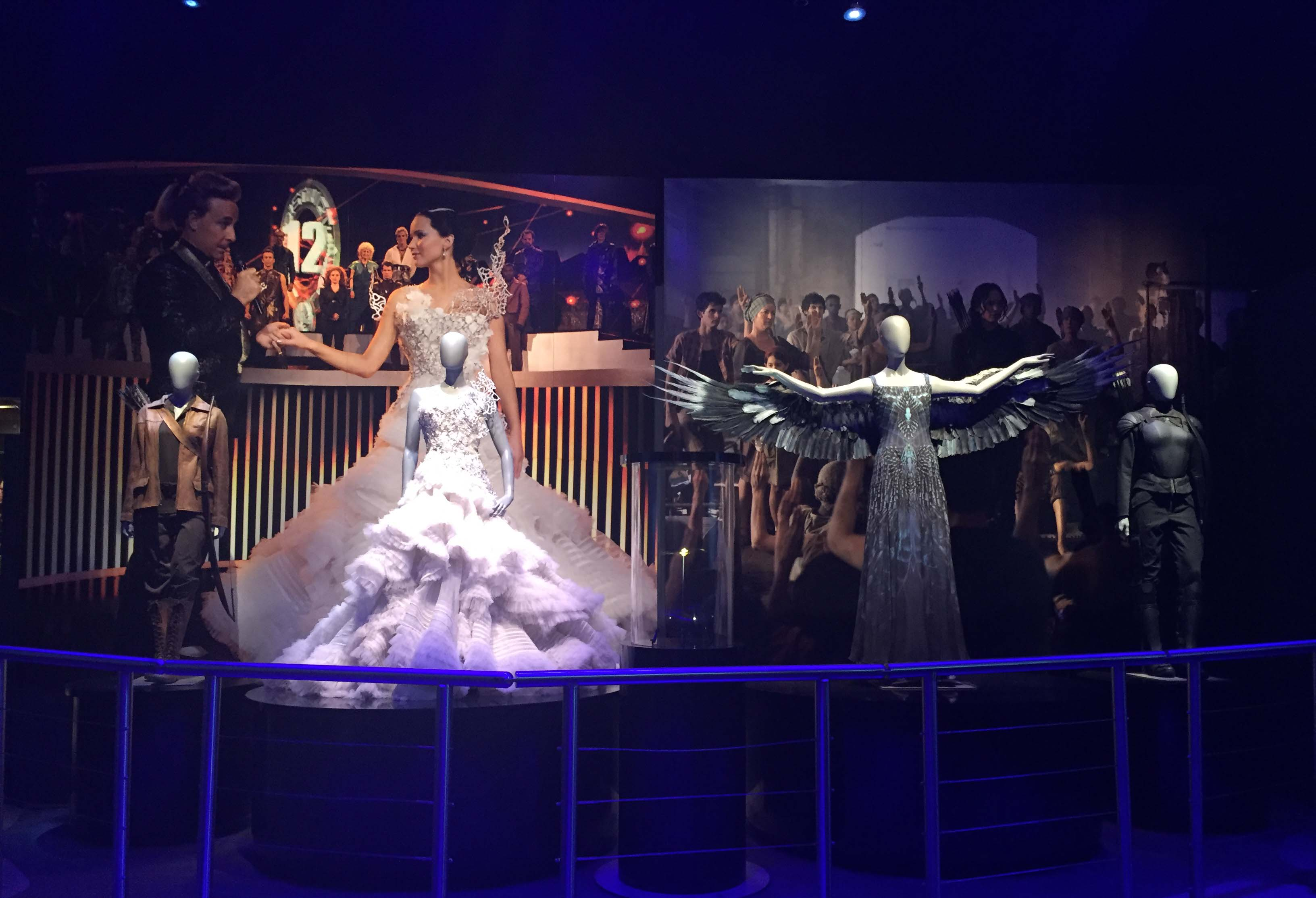Katniss Everdeen is highlighted through a series of costumes in the final room of