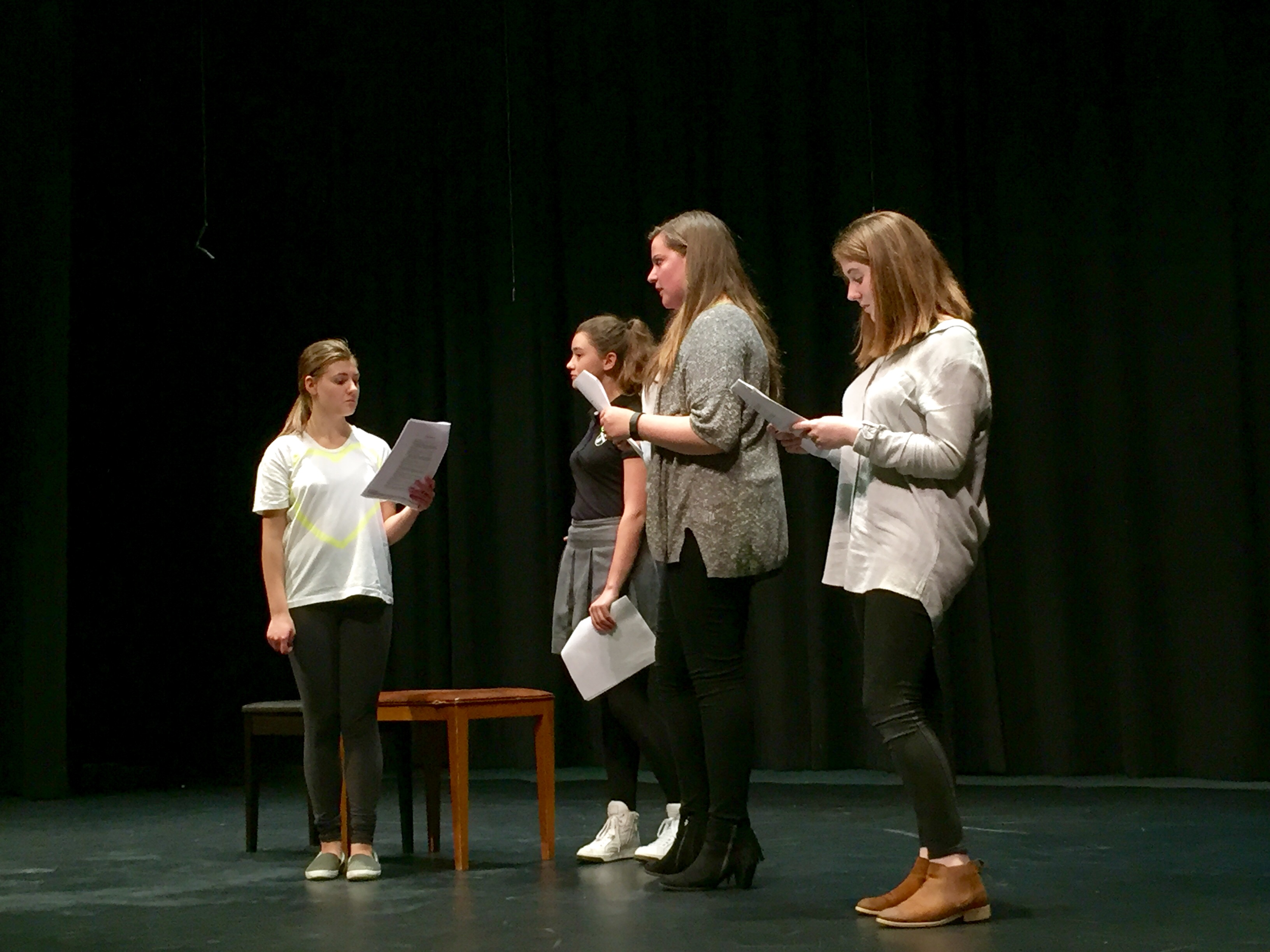 (From left) Junior Ariana Davidis, Sophomore Delaney Tobin, Junior Francesca Petruzzelli and Sophomore Sophie Egan act out a scene from the play for their group audition piece.