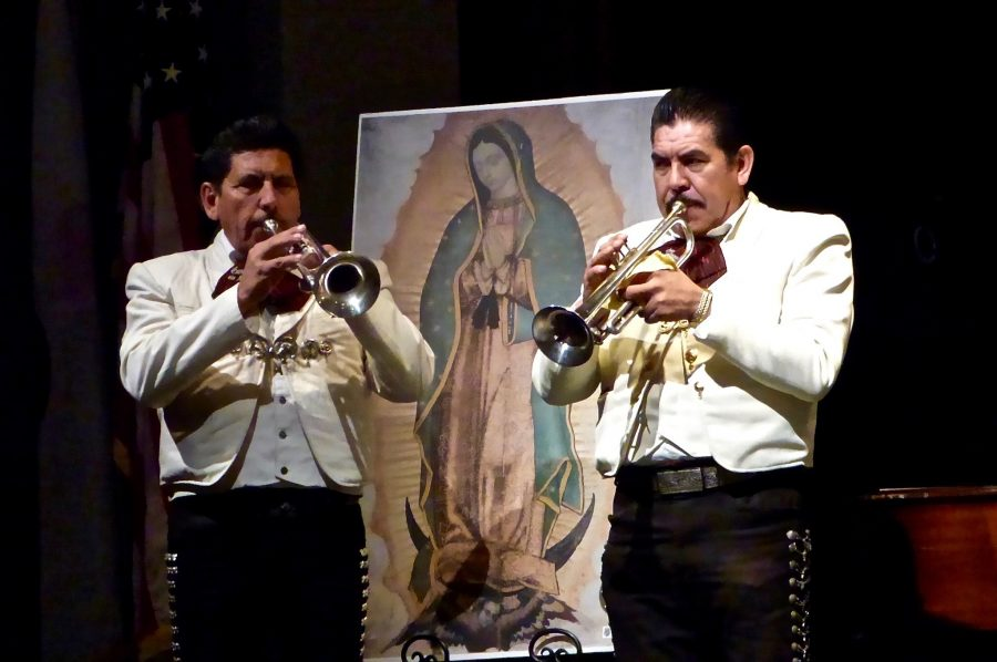 Mariachi+musicians+perform+for+the+student+body+in+Syufy+Theater.+The+music+was+part+of+a+larger+celebration+of+the+Feast+of+Our+Lady+of+Guadalupe.