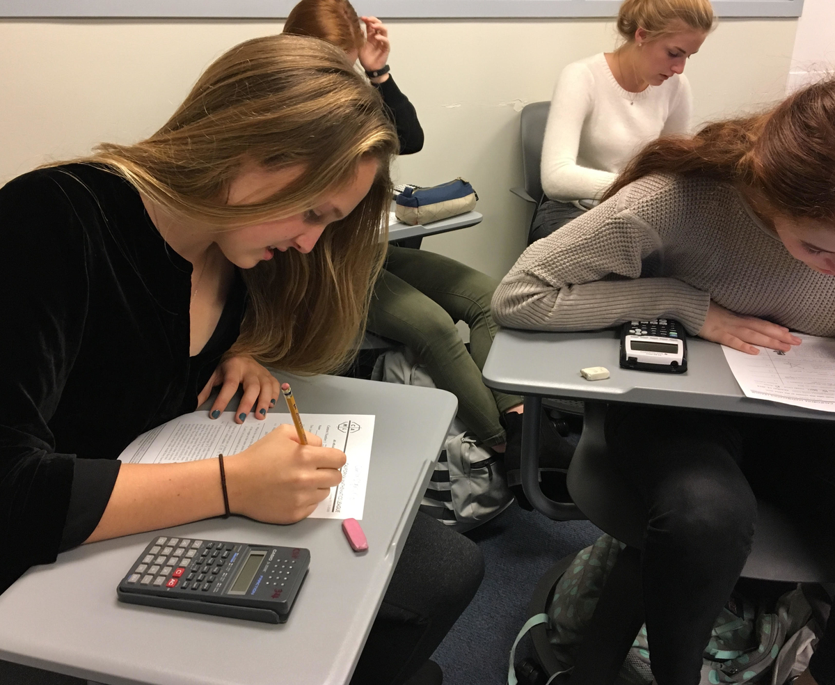 Sophomore Camilla Sigmund begins a California Math League quiz for Math Club's extra credit competition. Students had 30 minutes to complete six challenging questions.