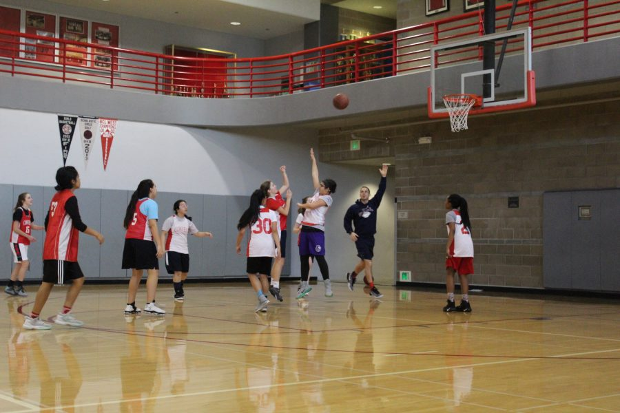 Freshman+Arianna+Nassari+guards+Sofia+Telfer+as+she+shoots+a+layup.+JV+Basketball+is+practicing+for+their+last+game+this+Tuesday+vs.+University.