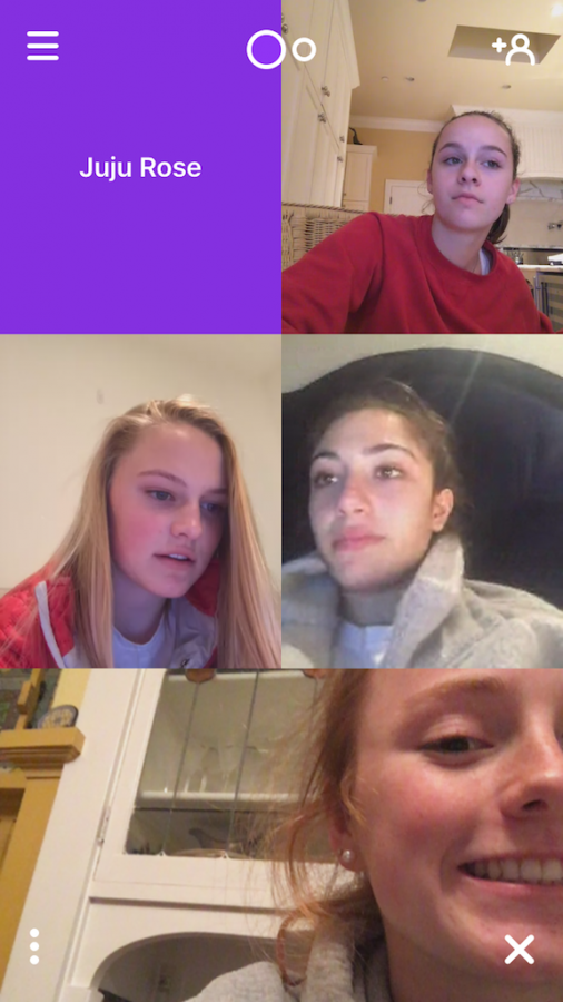 Sophomores+Natalie+Barnes%2C+Abby+Anderson%2C+Sofia+Pirri+and+Cece+Giarmin+en+a+four-way+%22houseparty%22+and+wait+for+others+to+join.+The+social+networking+app%2C+which+allows+up+to+eight+users+to+video+chat+at+once+while+%22waving%22+at+others%2C+premiered+in+August+2016.