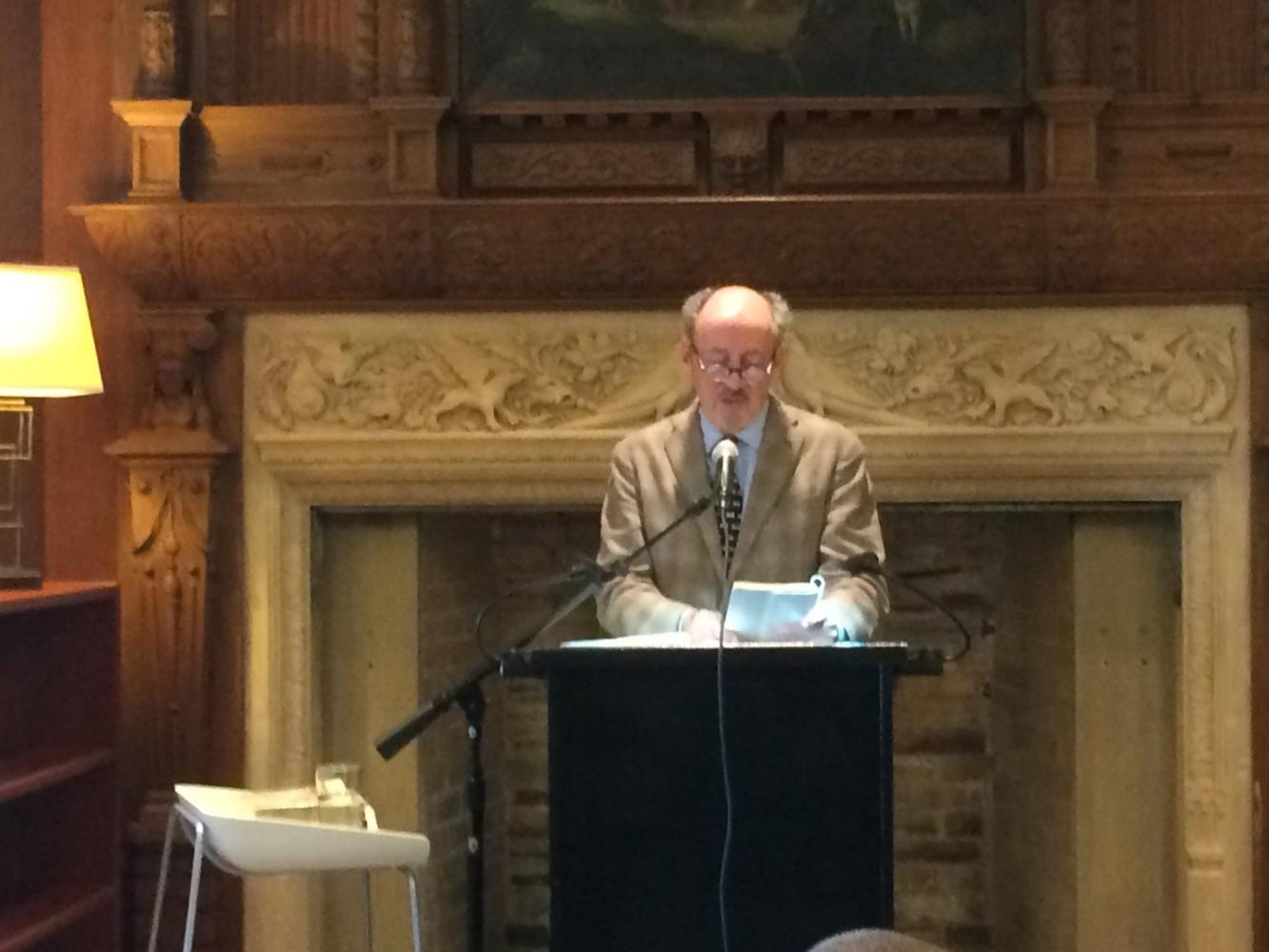 Former U.S. Poet Laureate Billy Collins reads a selection of his work at an evening event for the school community. Collins, famous for his simple poems with gentle critiques of everyday life, visited campus today.
