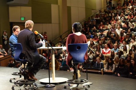 George Saunders visits school community