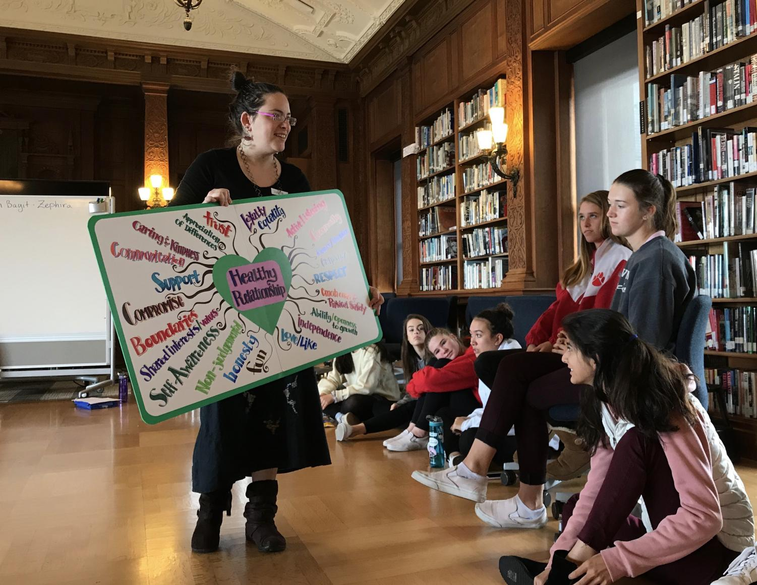 Sophomores read off a map of common qualities that people want in healthy relationships. The map was designed by a Trader Joe's graphic artist.