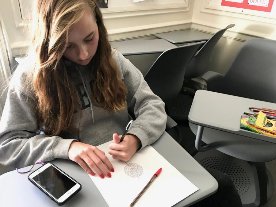Sophomore+Elsa+Hagstrom+draws+a+mandala+during+her+World+Religions+class.+Students+learned+about+Buddhism+and+the+use+of+art+meditation+prior+to+the+mandala+drawing+class.