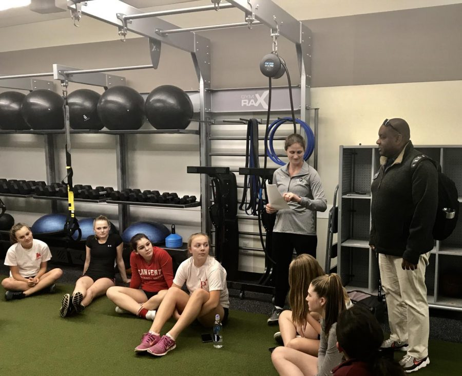 Director+of+Athletics+Anthony+Thomas+stops+by+to+welcome+the+girls+to+the+start+of+the+spring+season.+The+first+soccer+practice+will+be+on+Feb.+5.