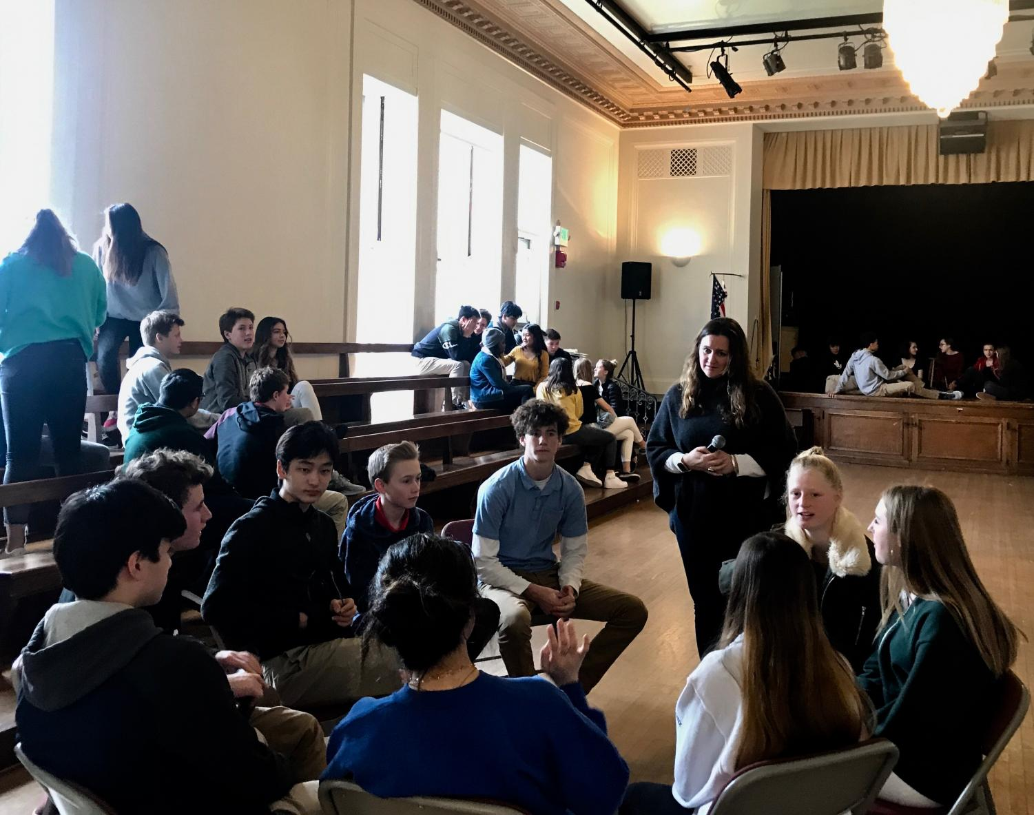 Freshmen gather during lunch in small groups to discuss the Goals & Criteria. In the past, freshmen participated in CORE, a class which focused on bonding as class once a month instead of one straight week.