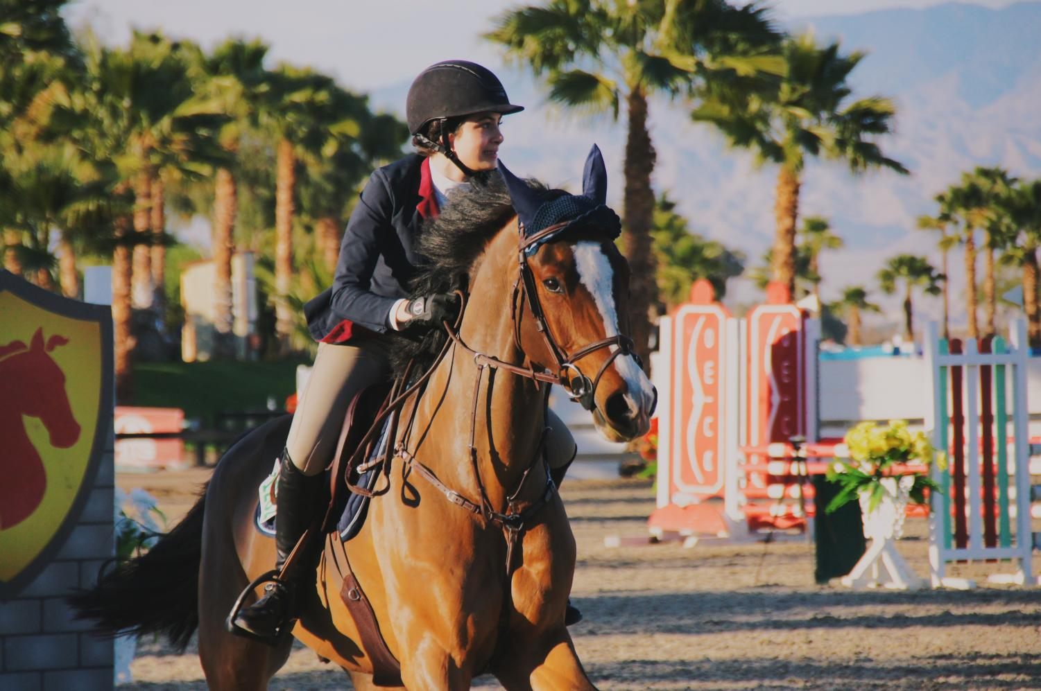 Junior Sofia Pirri competes in the Thermal Horse Show in Southern California, placing fifth. She has been riding competitively for four years.