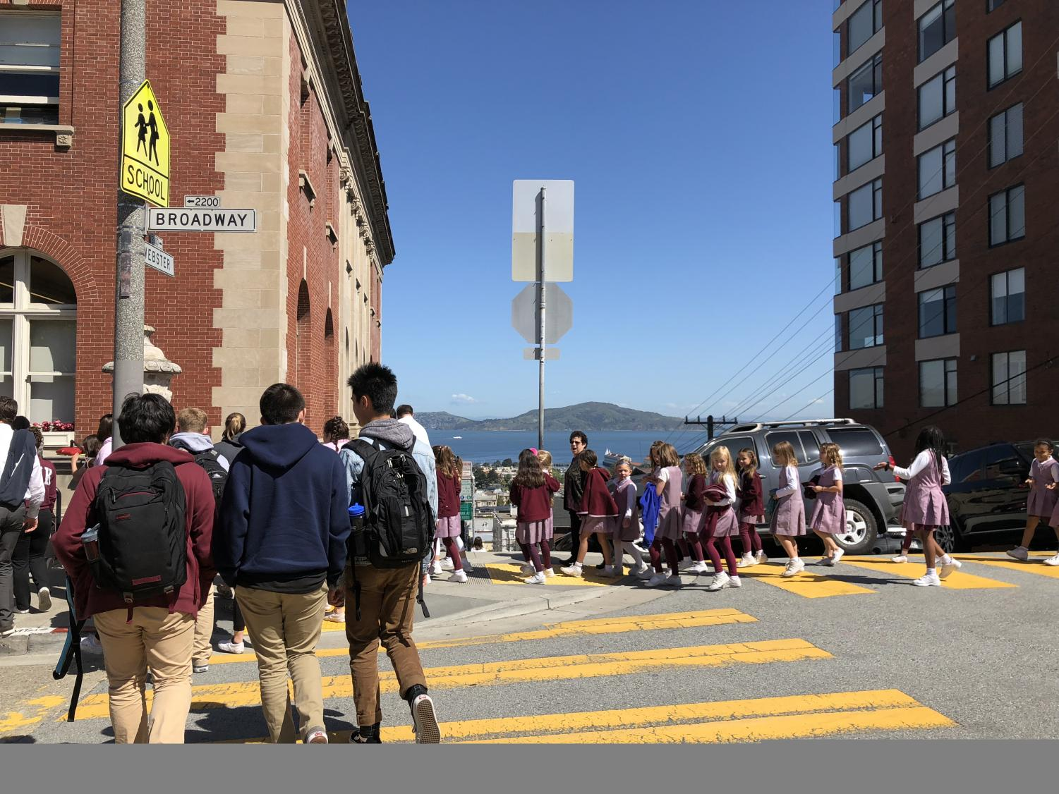 Students return to class after the false alarm. All four divisions on Broadway campus evacuated.