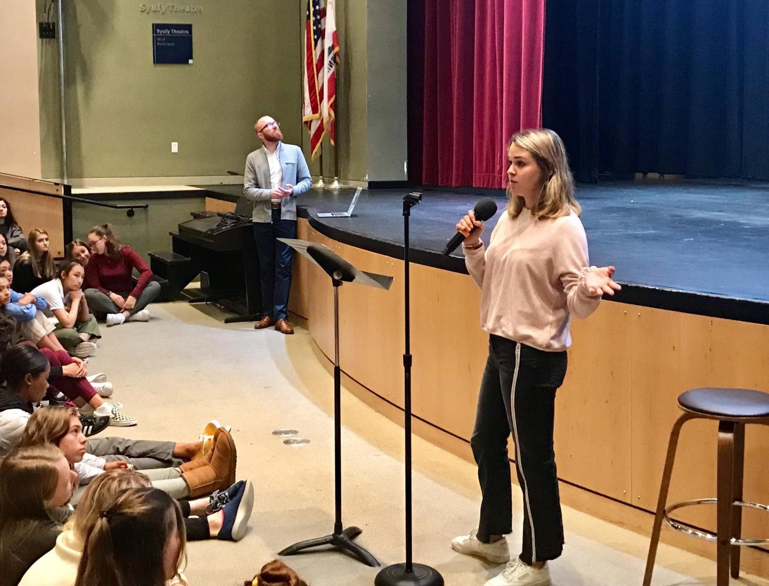 Senior Rachel Cramer presents her club, Social Media Awareness,  to educate students on the impacts and utilization of social media. The club plans to meet every other Wednesday at lunch.