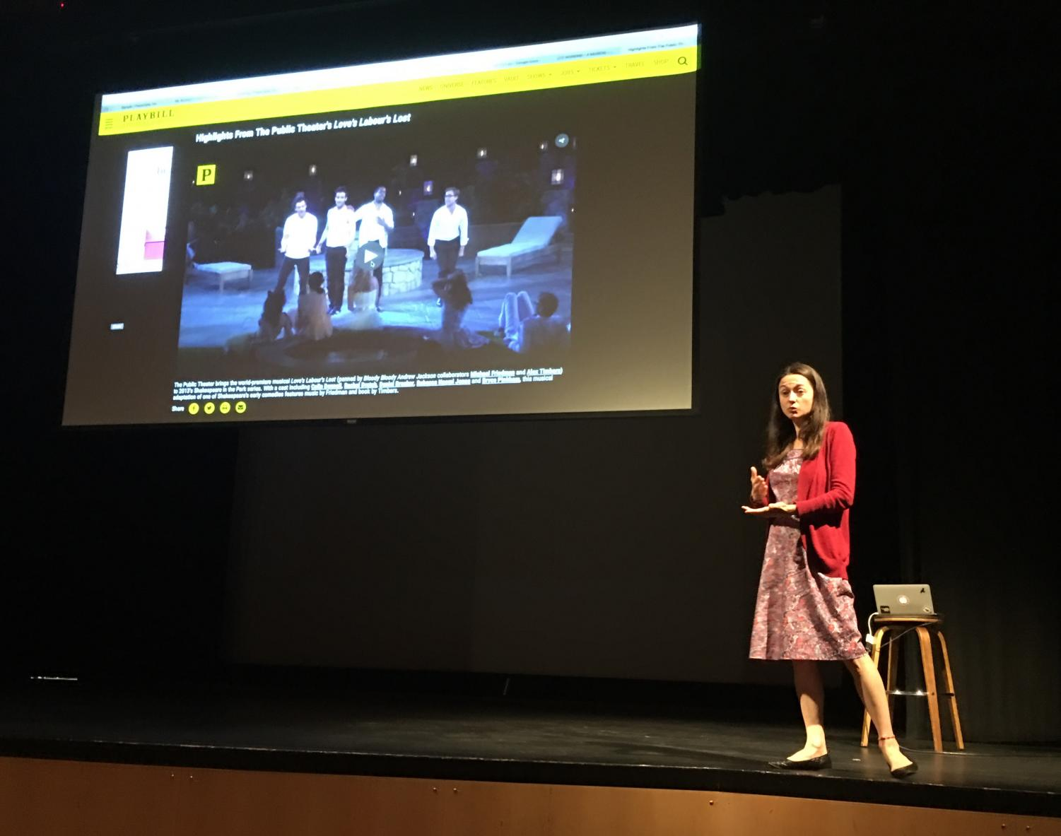 Theater Program Director Margaret Hee debriefs a video showing an example of contemporary theater in the Syufy Theatre. Students interested in participating in the fall play watched these videos and discussed the fall production, Metamorphoses.