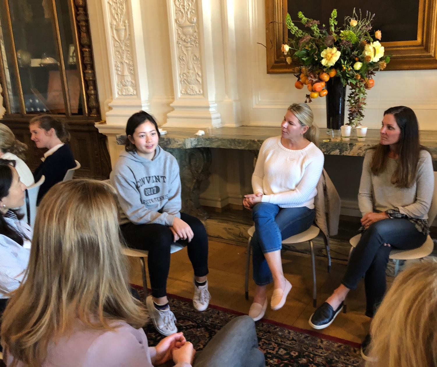 Senior Mason Cooney discusses her experience at Convent with a group of Convent & Stuart Hall parents. The event focused on the Goals and Criteria of Sacred Heart education and spiritual engagement.