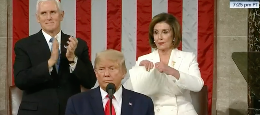 Speaker+of+the+House+Nancy+Pelosi+tears+up+a+copy+of+President+Trump%27s+State+of+the+Union+address.+President+Trump+delivered+his+address+to+both+the+Senate+and+the+House+of+Representatives+in+the+United+State+Capitol.+