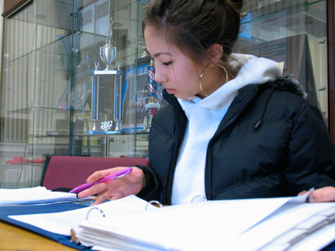 Junior Maya Sycip uses her free period to begin studying for final exams that begin on Monday. Students will have a four-day weekend after exams ending Thursday afternoon.