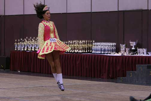 Senior Kelsey Vickery does a pulse during an Irish dancing competition at the Oakland Marriott in October her freshman year. Vickery dances with her dancing school but also performs for CSH St. Patrick's Day celebrations.