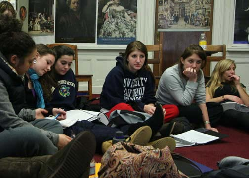 Seniors Amanda Aish, Caitie Sullivan, Rebecca Halloran, Charolette Kiaie and Alexis Otellini (left to right) listen to a lecture in their Women Studies course. They are currently learning about the definition of beauty and the way society perceives women. The class is one of the most popular among upperclassmen, with 28 seniors enrolled.