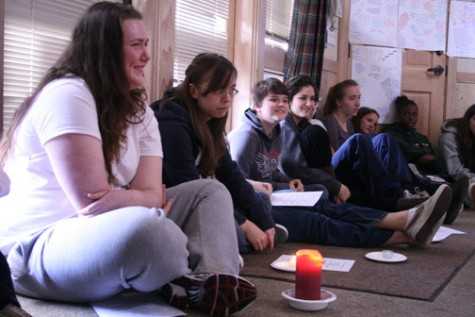 A candle signals classmates to take turns complimenting Mary-Kate Cullinane during a seven-hour reflection at the Senior Class retreat last Friday at Bishop's Ranch in Sonoma County. INA HERLIHY | the broadview