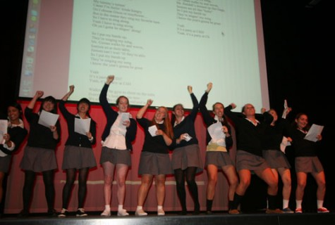 Student body officers Elena Dudum (left to right), Chloe Look, Angela Tam, Juliet Charnas, Katie Carlson, Shannon McInerny, India Pierce, Bridgette Hanely and Elizabeth Leighton perform a verison of Miley Cyrus's