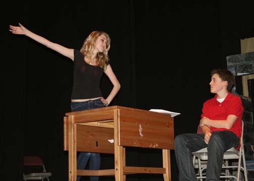 Senior Lauren Arnold, who plays Sally Bowles, rehearses