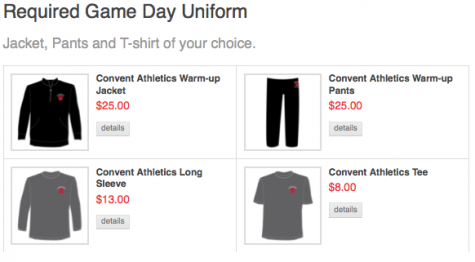 Athletic game day uniform available at Convent online store