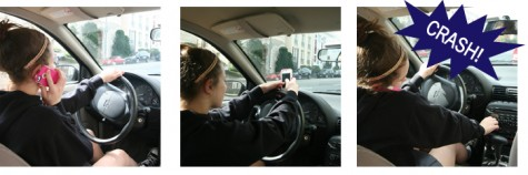 Driving while on the phone, texting or talking, can increase the possibility of having a car crash.