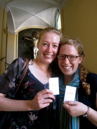 Emma Fahy ('09) and Hallie Young ('09) visit Instituto Sacro Cuore della Trinita dei Monti in Rome, the home of the original fresco of Mater Admerablis. EMMA FAHY | with permission