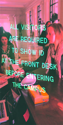 Raptor security technology was implemented on the Boradway campus to heighten school security. Signs posted on the front door alert visitos that they are required to scan their California ID. JEWEL DEVORA | The Broadview
