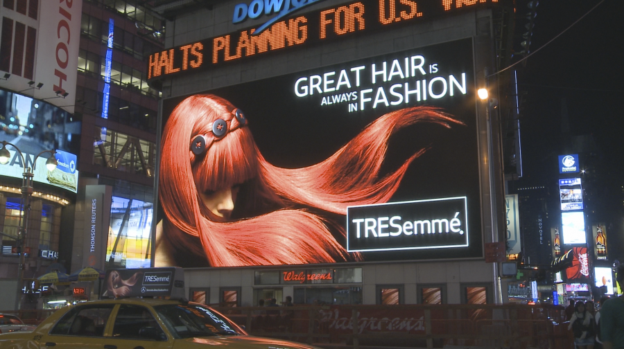 "Erin Dress' ads appeared on billboard screens in Time Square and the TRESemmé products were used during the Mercedes Benz Fashion Week. ""Great Hair is always in Fashion"" was featured in InStyle and Vogue in a two-page spread."