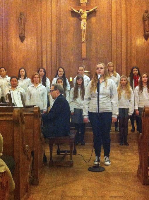 Phoebe Flynn sings a solo at the Winter Concert last night in the Chapel.