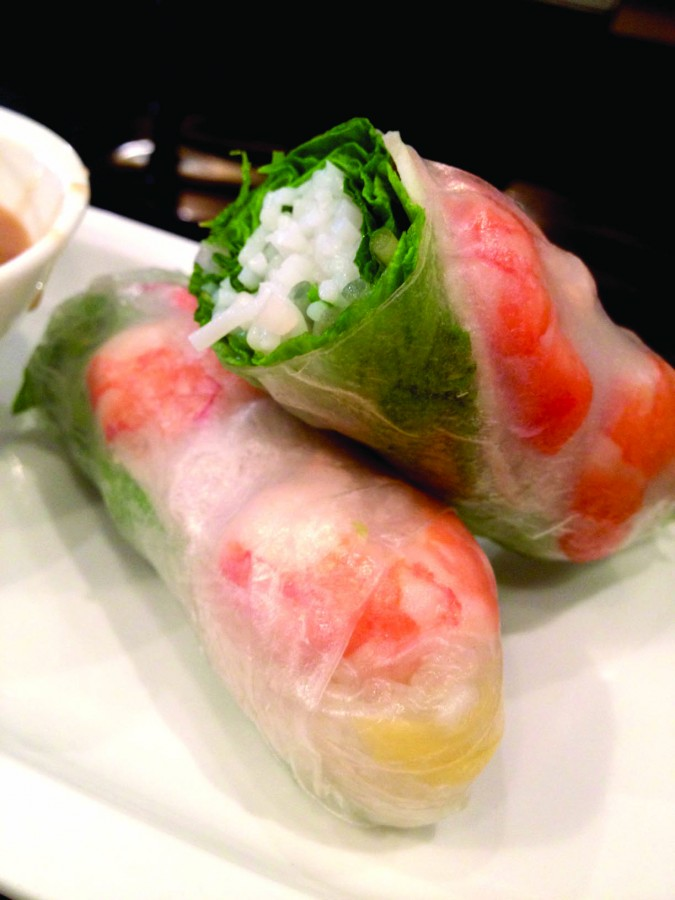 The Saigon Souvenir is the non-veg- etarian spring roll option. The subtle tang of mango strips sweetens the savory poached shrimp wrapped in a cellophane skin.
