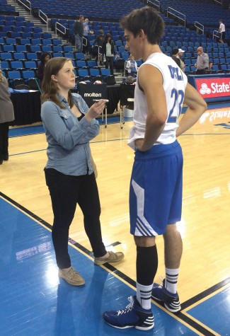 Claire Fahy ('13) interviews UCLA Bruins outside volleyball hitter Gonzalo Quiroga for a story she was writing for the Daily Bruin.