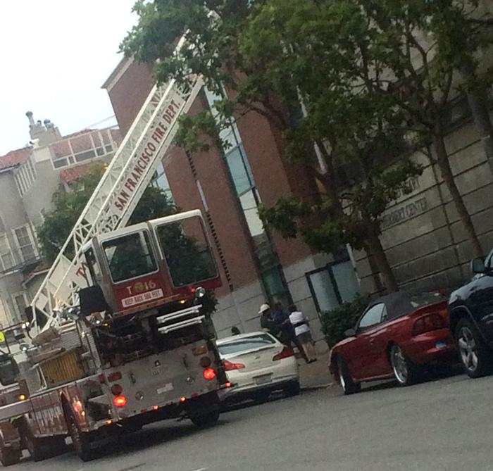 Fire trucks respond to a pulled fire alarm in the Siboni building after witnesses smelled and saw smoke this evening. The electrical fire caused minimal damage and school will take place as scheduled tomorrow.