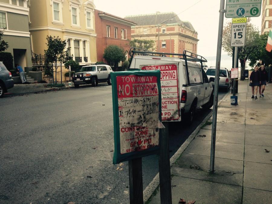 Construction sites limit parking spots