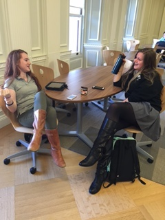 Freshmen Kelly Rosanelli and Francesca Petruzzelli talk while sporting knee high boots in the Center.