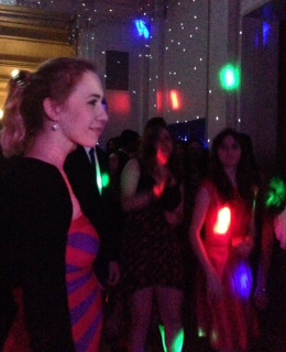 Sophomore Bella Maestas dances with friends in the Main Hall during the winter-themed event.