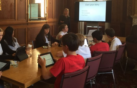 Venture capitalist Sonja Perkins speaks to seventh and eighth graders about preparing the pitches they will deliver tomorrow to a panel of outside groups. The majority of applicants were seventh and eight graders from Convent Elementary School and Stuart Hall for Boys.
