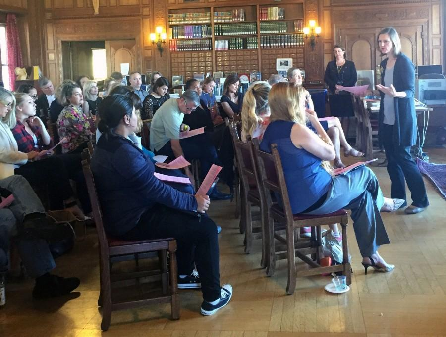 Head of School Rachel Simpson addresses senior families during a meeting about the week.