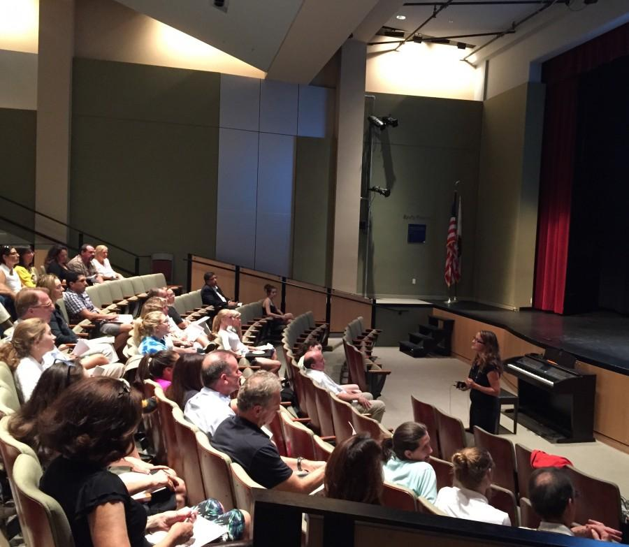Parents and seniors engage in the question and answer portion of the college information presentation with College Counseling Director Rebecca Munda.