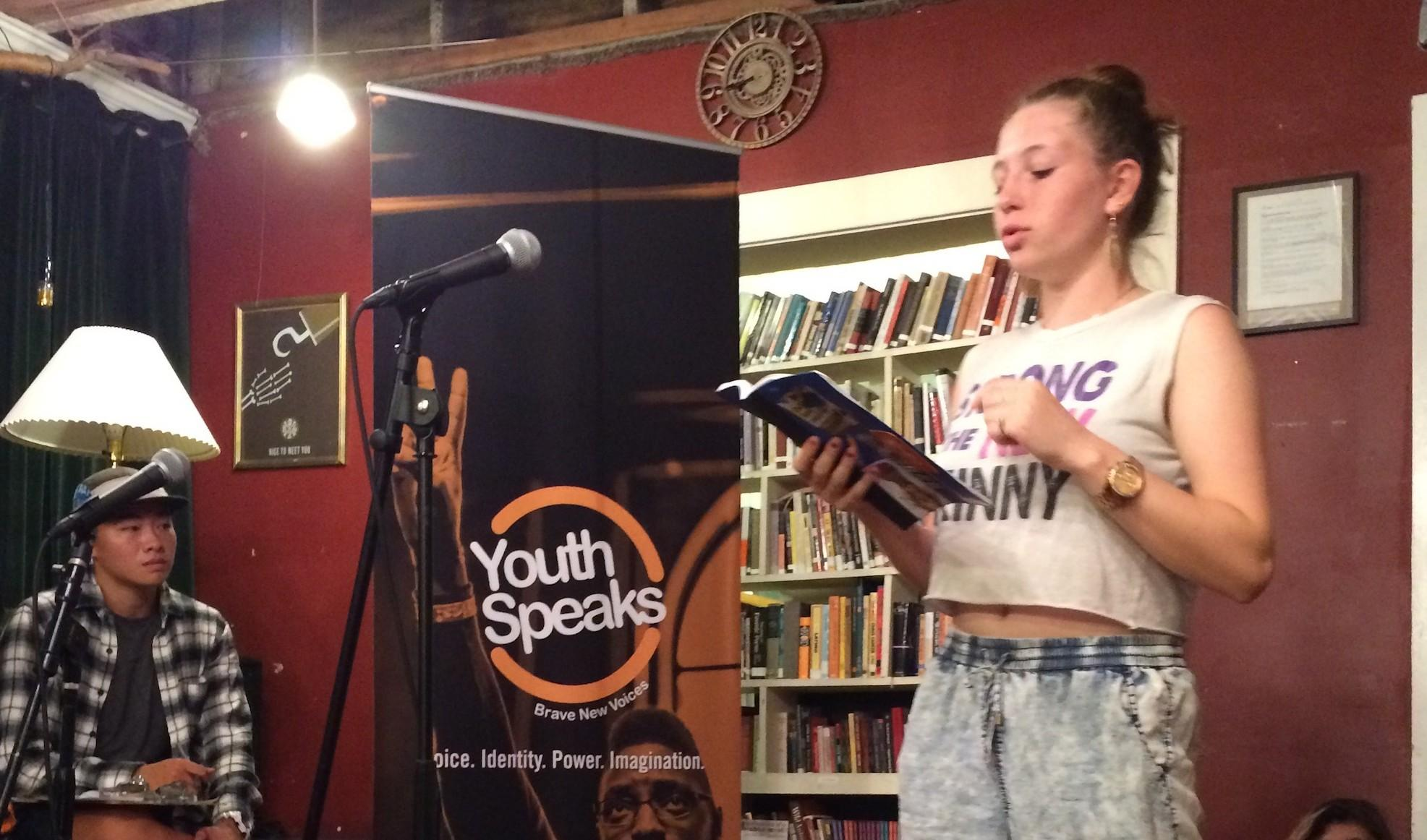 Oakland Technical High School's Youth Poet Laureate Finalist Lucy Flattery-Vickness shares two of her original poems as the feature poet for Youth Speaks Open-Mic Night.