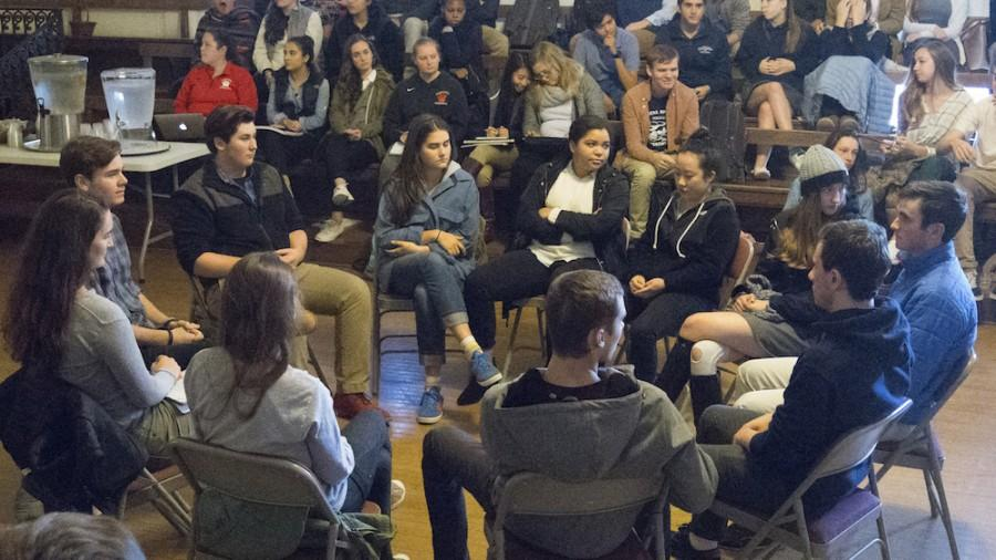 Students from the Senior Class congregate in a circle discussion. The meeting consisted of discussions on various issues concerning gender and identity.