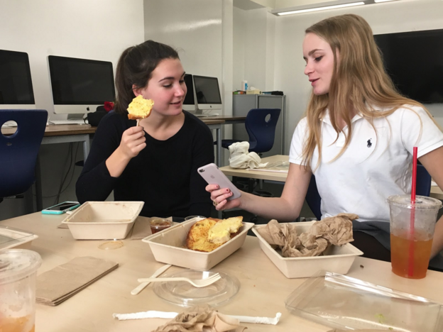 Seniors+Alexandra+Farran+and+Megan+McMiking+in+iPad+Programming+celebrate+their+completion+of+a+breakfast+ordering+app+by+having+brunch+during+their+F+Period+class.+%0A