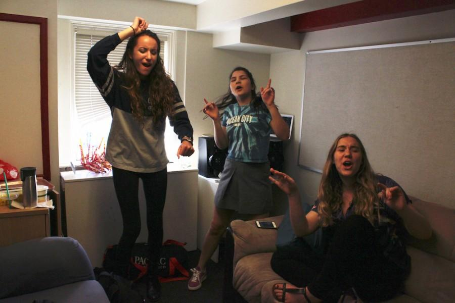 Seniors dance to Hannah Montana songs in the upperclassmen locker room after an earthquake drill. The earthquake and lockdown drills both happened on the same week.
